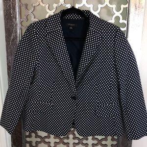ANN TAYLOR Size 12 Navy/White dot blazer